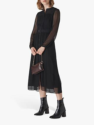 Whistles Bethany Belted Midi Dress, Black