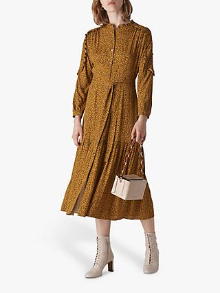 Whistles Renee Autumn Floral Print Shirt Dress, Yellow/Multi