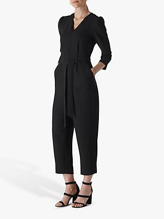 Whistles Hallie Zip Crepe Jumpsuit, Black