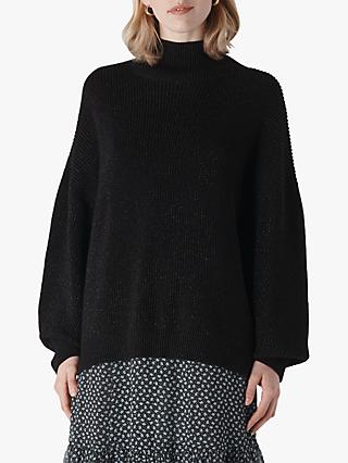 Whistles Chunky Sparkle Knit, Black