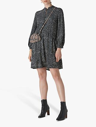 Whistles Mottled Spot Print Mini Dress, Black
