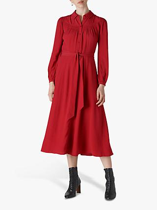 Whistles Smocked Yoke Shirt Dress, Red