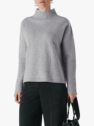 Whistles Eden Ribbed Merino Wool Knit Jumper, Grey