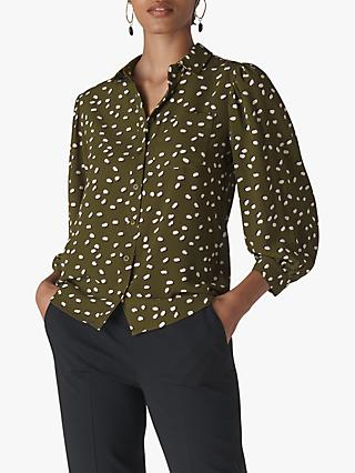 Whistles Shadow Spot Print Shirt, Khaki/Multi