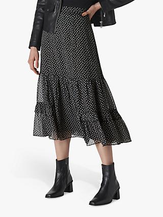 Whistles Almond Blossom Midi Skirt, Black/Multi
