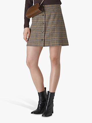 Whistles Houndstooth Button Skirt, Multi