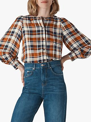 Whistles Puff Sleeve Check Shirt, Multi
