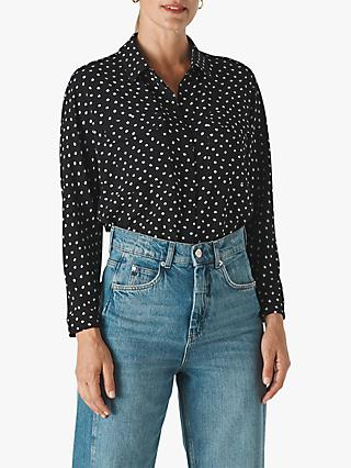 Whistles Selma Abstract Spot Shirt, Black/Multi