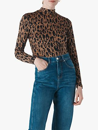 Whistles High Neck Animal Jacquard Top, Leopard Print