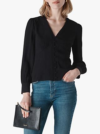 Whistles Neave Button Through Top, Black