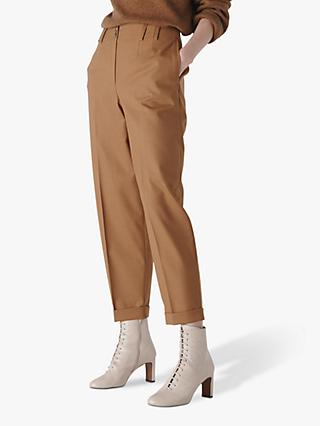 Whistles Tapered Button Front Trousers, Tobacco