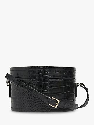 Whistles Novah Shiny Leather Croc Tiny Box Bag, Black