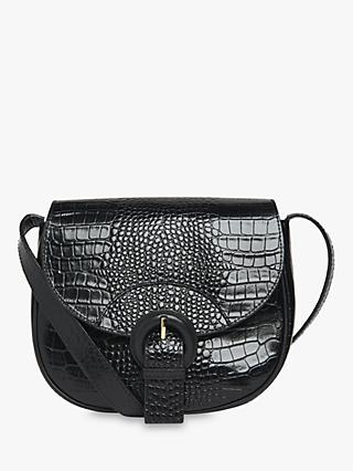 Whistles Leon Croc Saddle Bag, Black