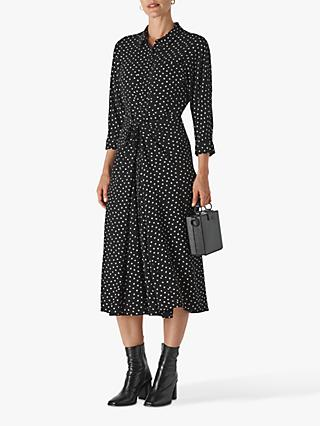 Whistles Selma Abstract Spot Waist Tie Dress, Black Multi