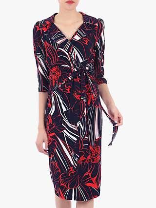 Jolie Moi Revere Collar Floral Print Pencil Dress, Blue/Multi