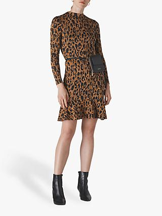 Whistles Animal Jersey Flippy Dress, Multi