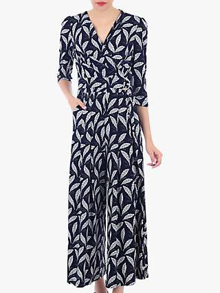 Jolie Moi Feather Print Wrap D-Ring Jumpsuit, Navy Feather