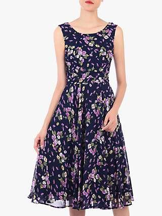 Jolie Moi Floral Chiffon Midi Dress, Navy Floral