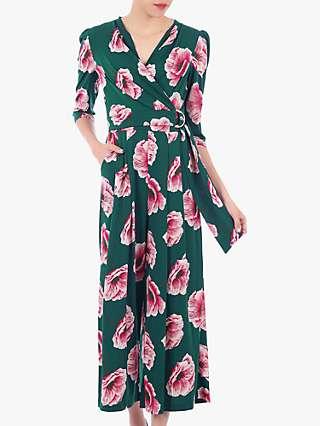 Jolie Moi Floral Print Wrap D-Ring Jumpsuit, Green Floral