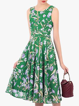 Jolie Moi Chiffon Midi Dress, Green Floral