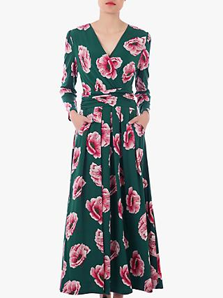 Jolie Moi Floral Print Cross Over Maxi Dress, Green/Multi