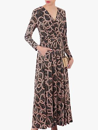 Jolie Moi Geometric Print Cross Over Maxi Dress, Brown/Black