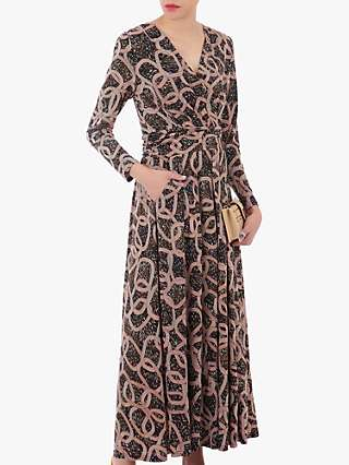 Jolie Moi Geometric Print Cross Over Maxi Dress, Brown/Black