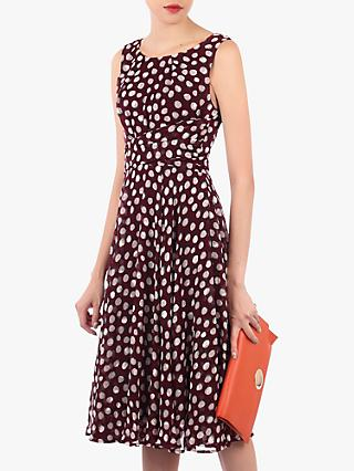 Jolie Moi Polka Dot Print Midi Dress, Burgundy