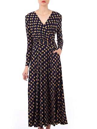 Jolie Moi Geometric Print Cross Over Maxi Dress, Black/Multi