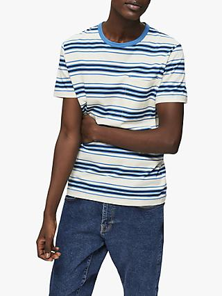 SELECTED HOMME Short Sleeve Pocket T-Shirt, White/Blue Stripe