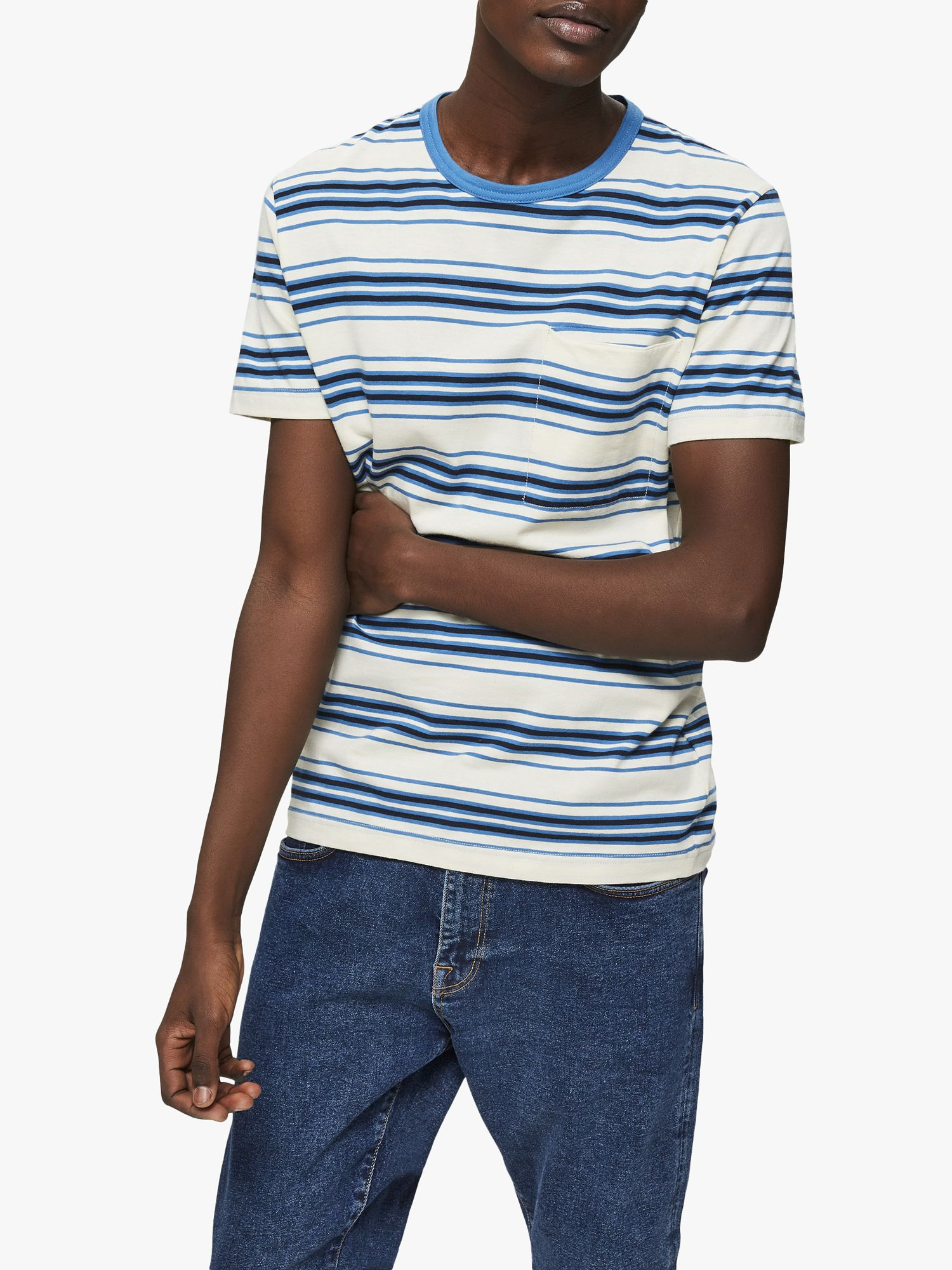 Selected Homme SELECTED HOMME Short Sleeve Pocket T-Shirt, White/Blue Stripe
