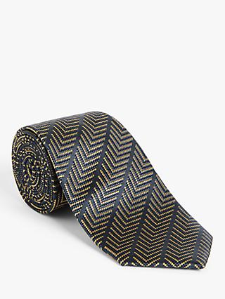 John Lewis & Partners Stripe Chevron Silk Tie, Blue