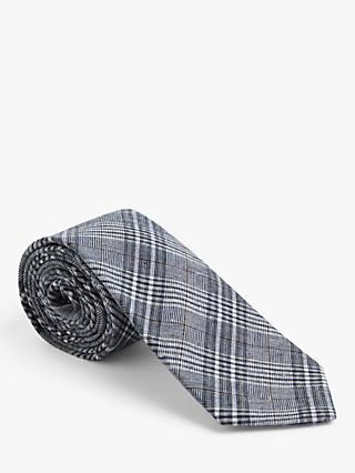 John Lewis & Partners Check Print Cotton Tie, Blue