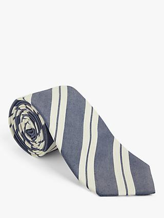 John Lewis & Partners Striped Tie, Blue