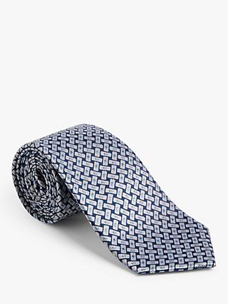 John Lewis & Partners Rectangle Print Silk Tie, Silver