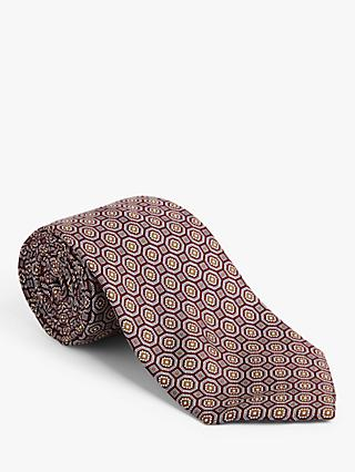John Lewis & Partners Made in Italy Large Geo Print Silk Tie, Red