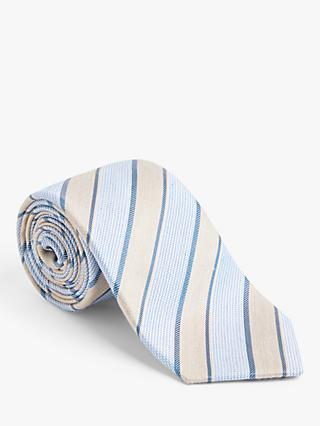 John Lewis & Partners Stripe Silk Tie, Neutral