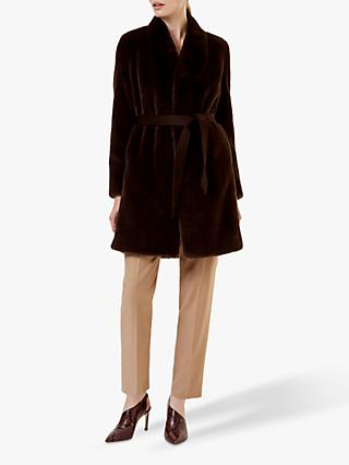 Hobbs Justine Faux Fur Coat, Chocolate