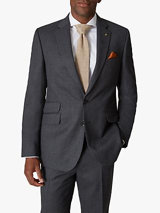 Jaeger 135 Wool Flannel Regular Fit Suit Jacket, Charcoal