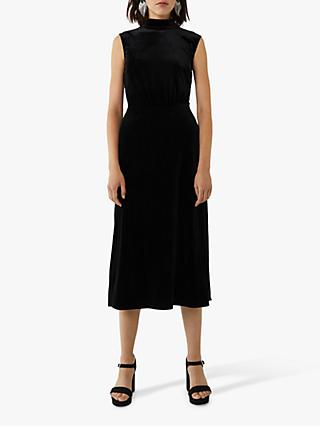 Warehouse High Neck Velvet Dress
