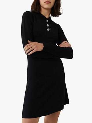 Warehouse Embellished Button Dress, Black