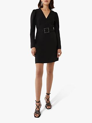 Warehouse Puff Sleeve Belted Dress, Black