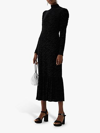 Warehouse Zebra Velvet Dress, Black