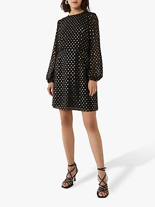 Warehouse Foil Spot Print Mini Dress, Black/Gold
