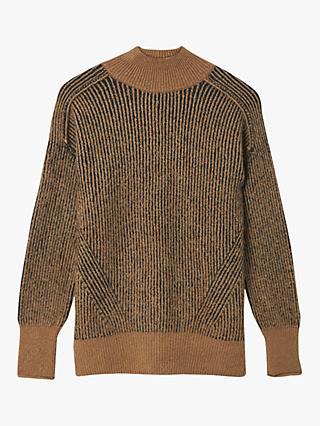 Warehouse Two Tone Rib Jumper, Camel
