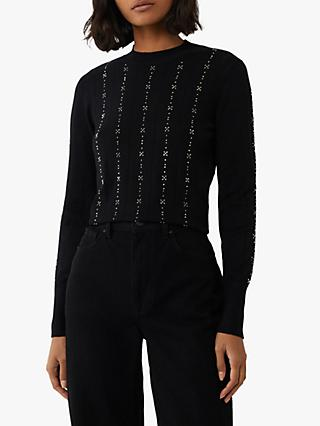 Warehouse Stitch Diamante Embellished Jumper, Black