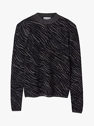 Warehouse Metallic Zebra Jumper, Black