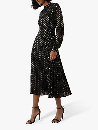 Warehouse Foil Spot Pleated Dress, Black/Gold