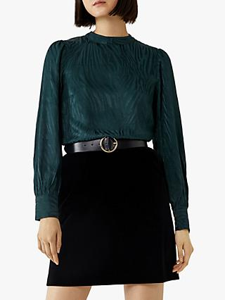 Warehouse Zebra Jacquard Top, Dark Green