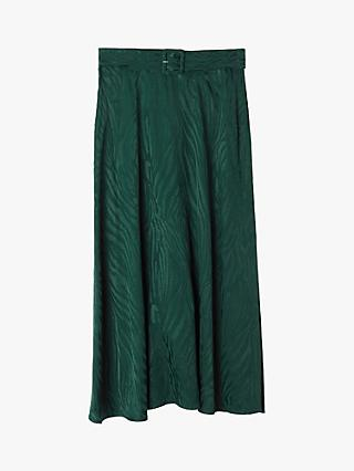 Warehouse Zebra Print Midi Skirt, Dark Green